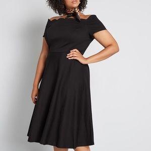 Modcloth Black Scallop Timeless Off Shoulder Dress